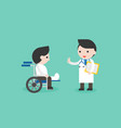 doctor and broken leg businessman in wheelchair vector image vector image