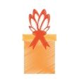 drawing gift box ribbon present vector image vector image