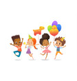 excited multiracial boys and girls with the vector image vector image