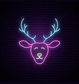 funny neon deer merry christmas neon sign vector image
