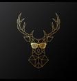 golden polygonal deer in glasses vector image vector image