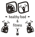 Healthy food and fitness symbols vector image