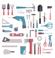 home tool icon collection top view instrument set vector image vector image