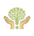 human hands holding green tree symbol concept vector image