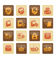 internet and website buttons and icons over brown vector image vector image