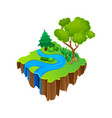 isometric island with blue river green grass and vector image vector image