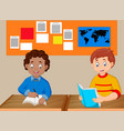 kids study together vector image