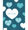light blue swirls damask heart symbol frame vector image