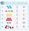 logical task check the correct relationship signs vector image