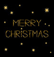 merry christmas gold text greeting card golden vector image