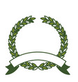 olive branch green crown and ribbon on bottom in vector image vector image