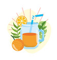 orange juice with tropical leaves in summer vector image vector image
