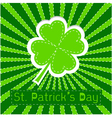 Paper clover leaf Sunburst background Patricks day vector image