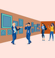 picture gallery exhibition visit art museum vector image