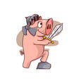 pig knight standing with one leg on stone