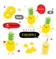 pineapple fruit summer cartoon character vector image vector image