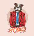 pit bull dog boss bodyguard artwork vector image