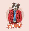pit bull dog boss bodyguard artwork vector image vector image