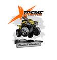 quad bike atv logo with xtreme mountain adventure vector image vector image