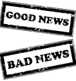 Rubber stamps with good news and bad news vector image