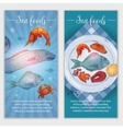 seafood hand drawn banners vector image vector image