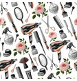 seamless pattern with hairdresser tools vector image