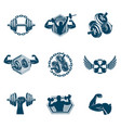 set cross fit and fitness theme created with vector image