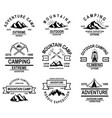 set mountain camp emblem templates design vector image vector image