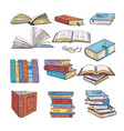 set of different books encyclopedia dictionary vector image vector image