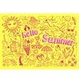 set of sketch design element summer theme with vector image