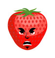 strawberry angry emoji red berry evil emotion vector image vector image