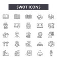 swot line icons signs set linear concept vector image vector image