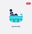 two color man bathing icon from behavior concept vector image