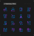 veterinary clinic thin line icons set vector image
