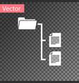 White folder tree icon isolated on transparent
