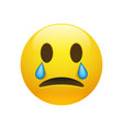 yellow crying emoticon with opened eyes vector image vector image
