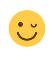 yellow smiling cartoon face winking emoji people vector image vector image