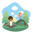 young women exercising cartoon vector image