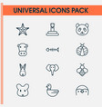 zoo icons set with elephant rabbit snake and vector image vector image