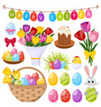 easter day decorative icons set vector image