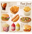 Fast food Set of cartoon food icons vector image