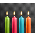candles on transparent background realistic set vector image