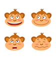 set with monkey emotion faces cute little vector image