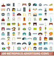 100 metropolis advertising icons set flat style vector image vector image