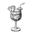 alcohol cocktail hand drawn vector image