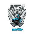 atv quad bike logo emblem with snake isolated vector image vector image