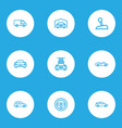 automobile icons line style set with car carwash vector image