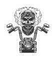 bearded and mustached biker skull vector image vector image