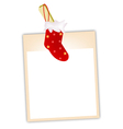 Blank Photos with Christmas Stocking vector image vector image