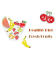 bowl with fresh fruits - healthy diet icon vector image